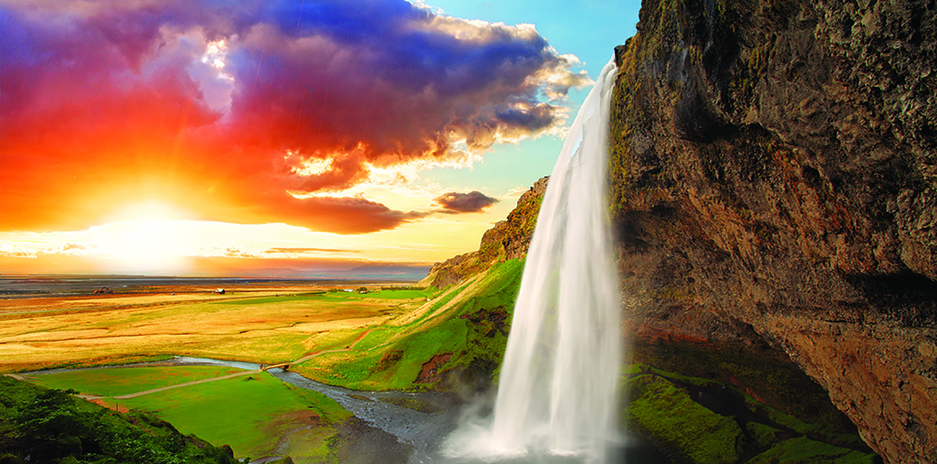 Waterfall at Sunset, Iceland