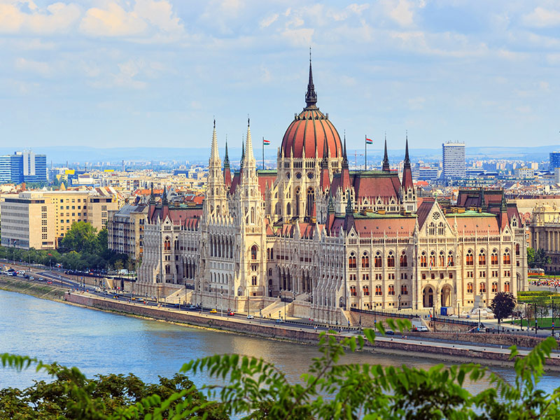 Europe Budapest river cruising beautiful aerial view of the Hungarian Parliament-bridge-luxury vacation destinations