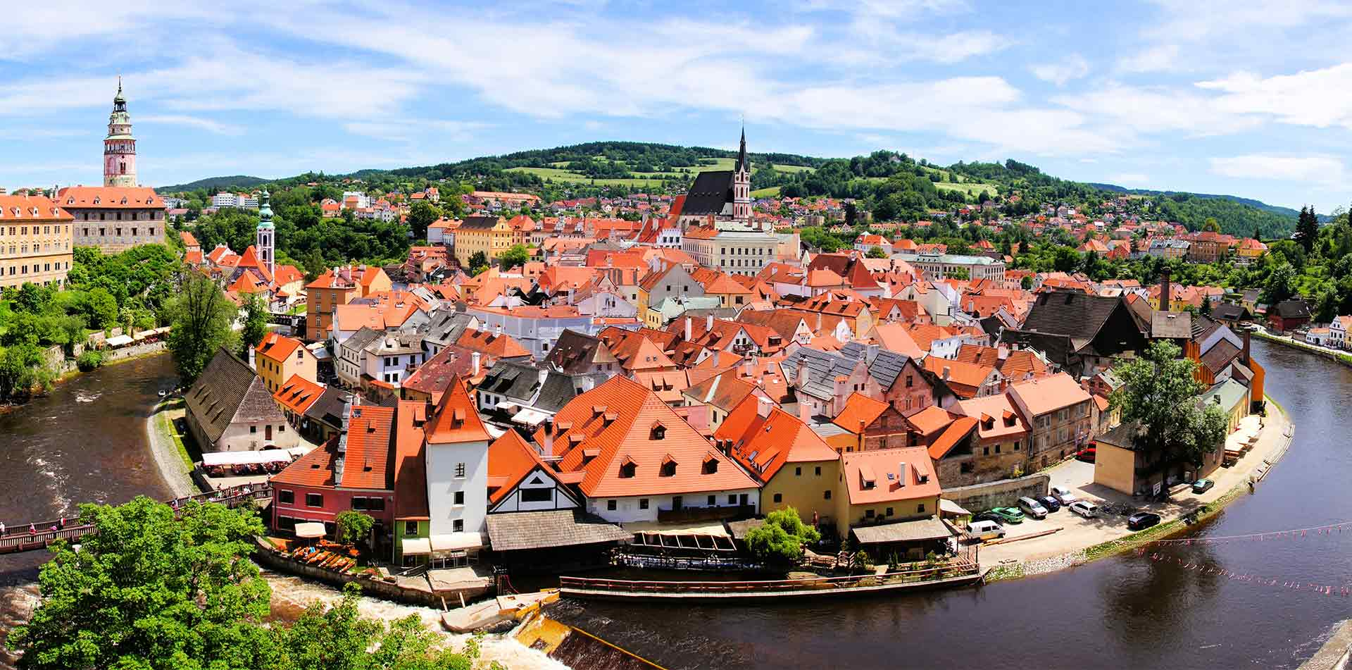 Europe river cruising Prague aerial view of Cesky Krumlov beautiful views- luxury vacation destinations