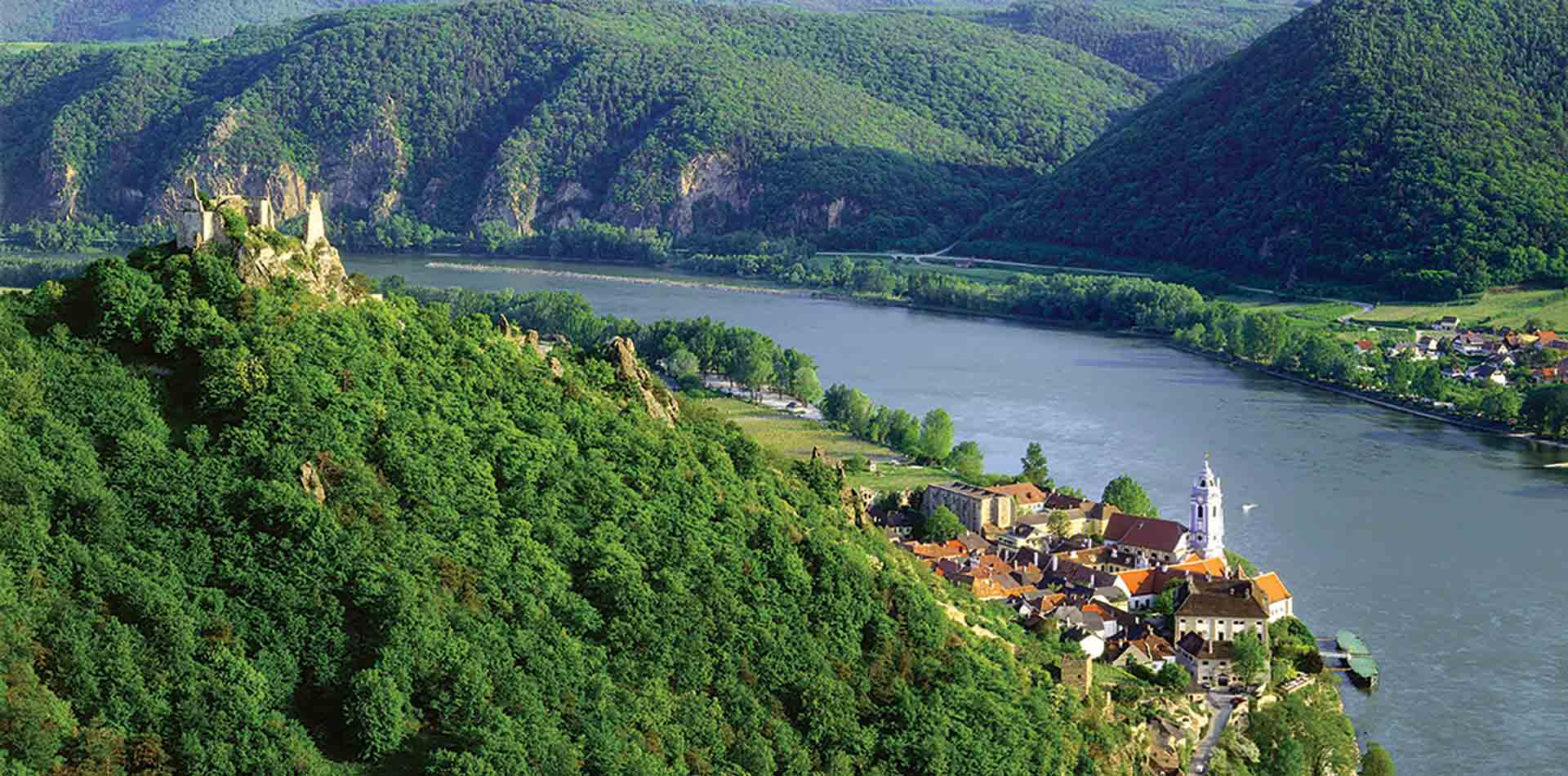 Europe Austria Durnstein village and castle on the Danube River beautiful greenery- luxury vacation destinations