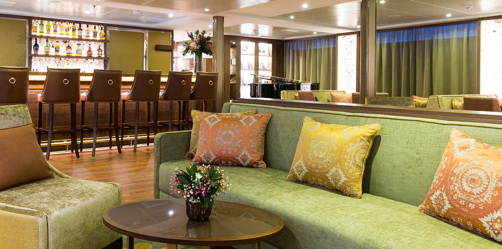 Europe river cruising Douro Elegance MS bar drinks lounge area piano- luxury vacation destinations