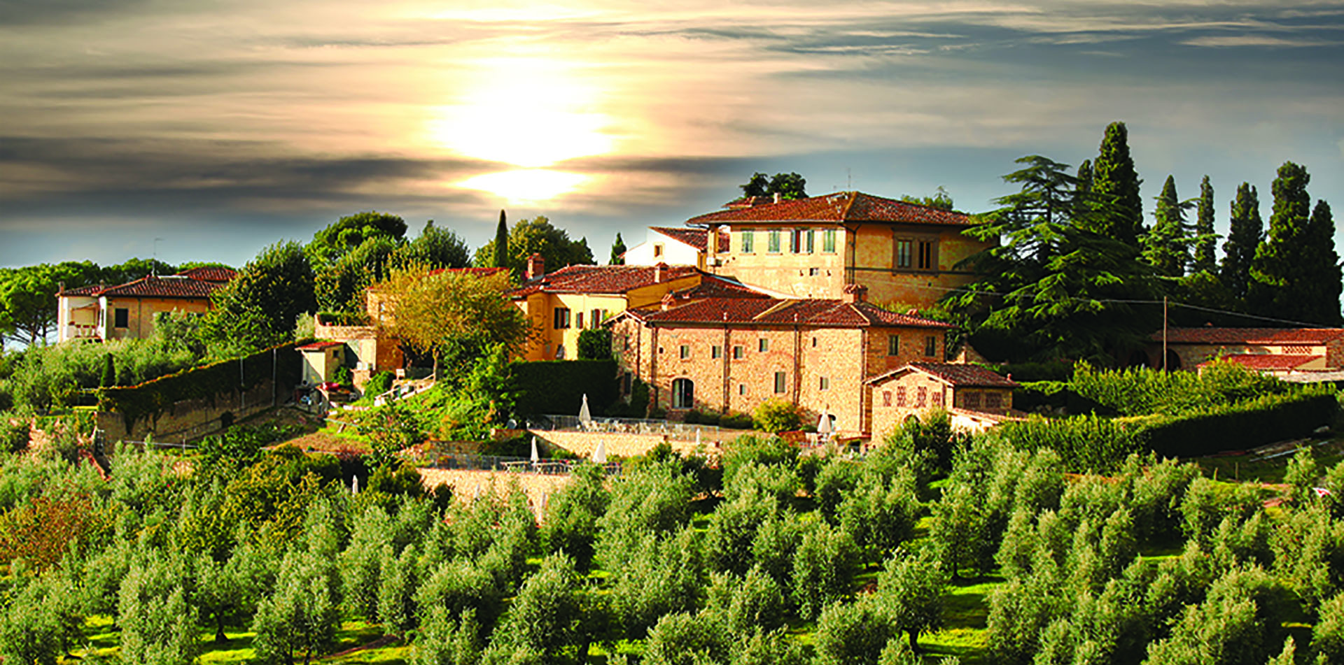 Europe Italy beautiful olive farm villa in Tuscany countryside at sunset - luxury vacation destinations