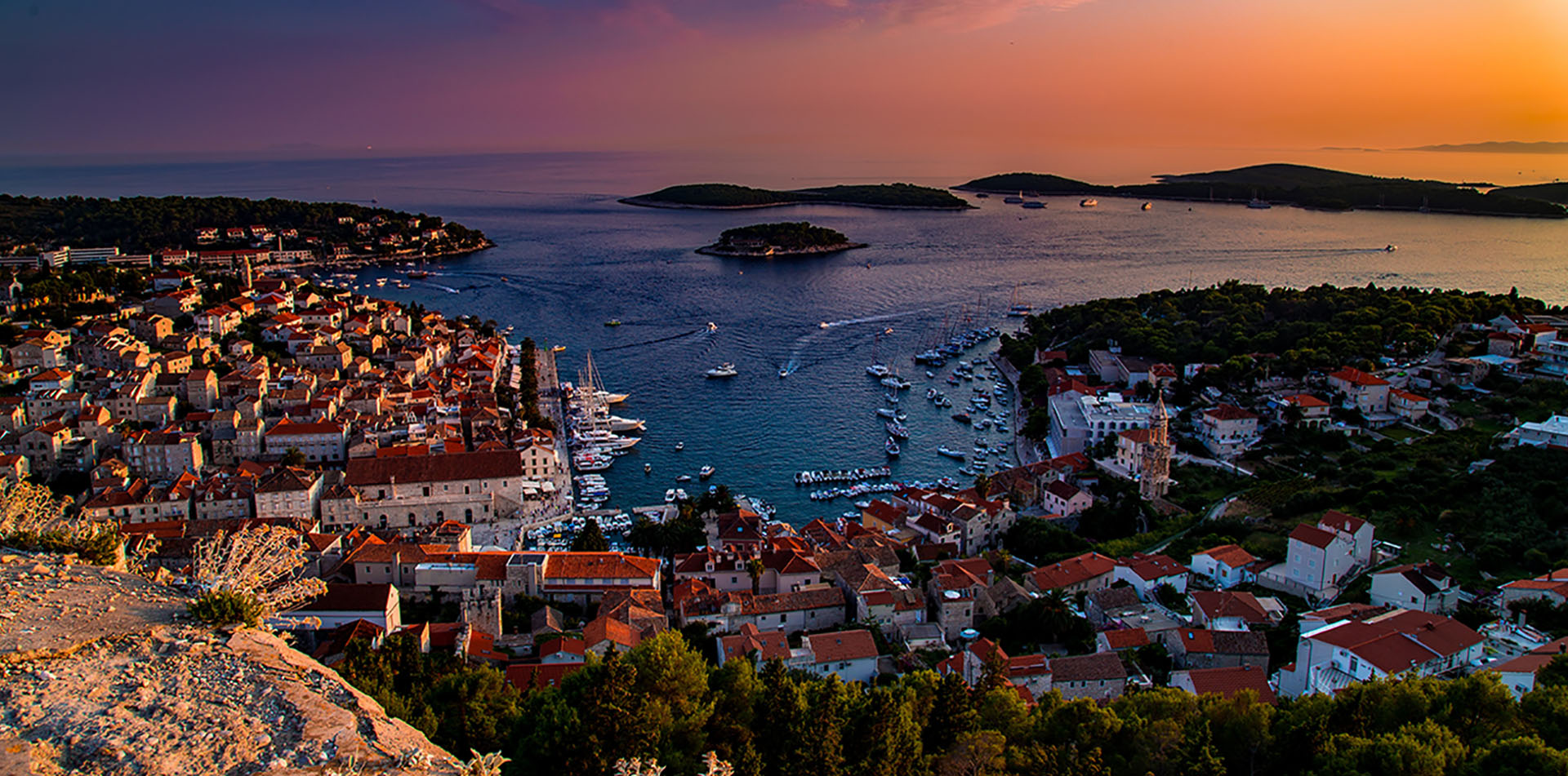 Hvar Harbor at Sunset, Croatia