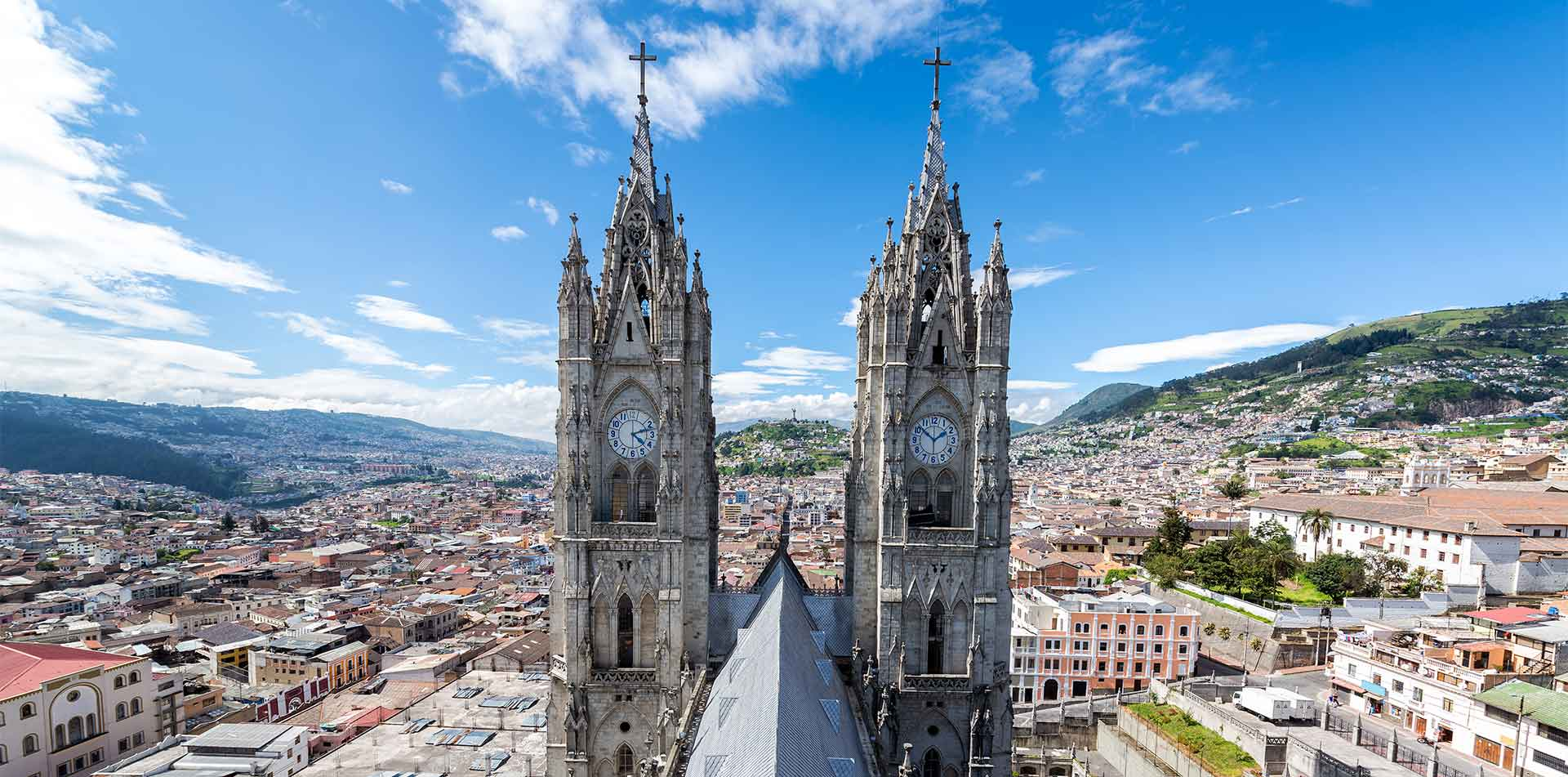 View of the towers of the Basilica in Quito