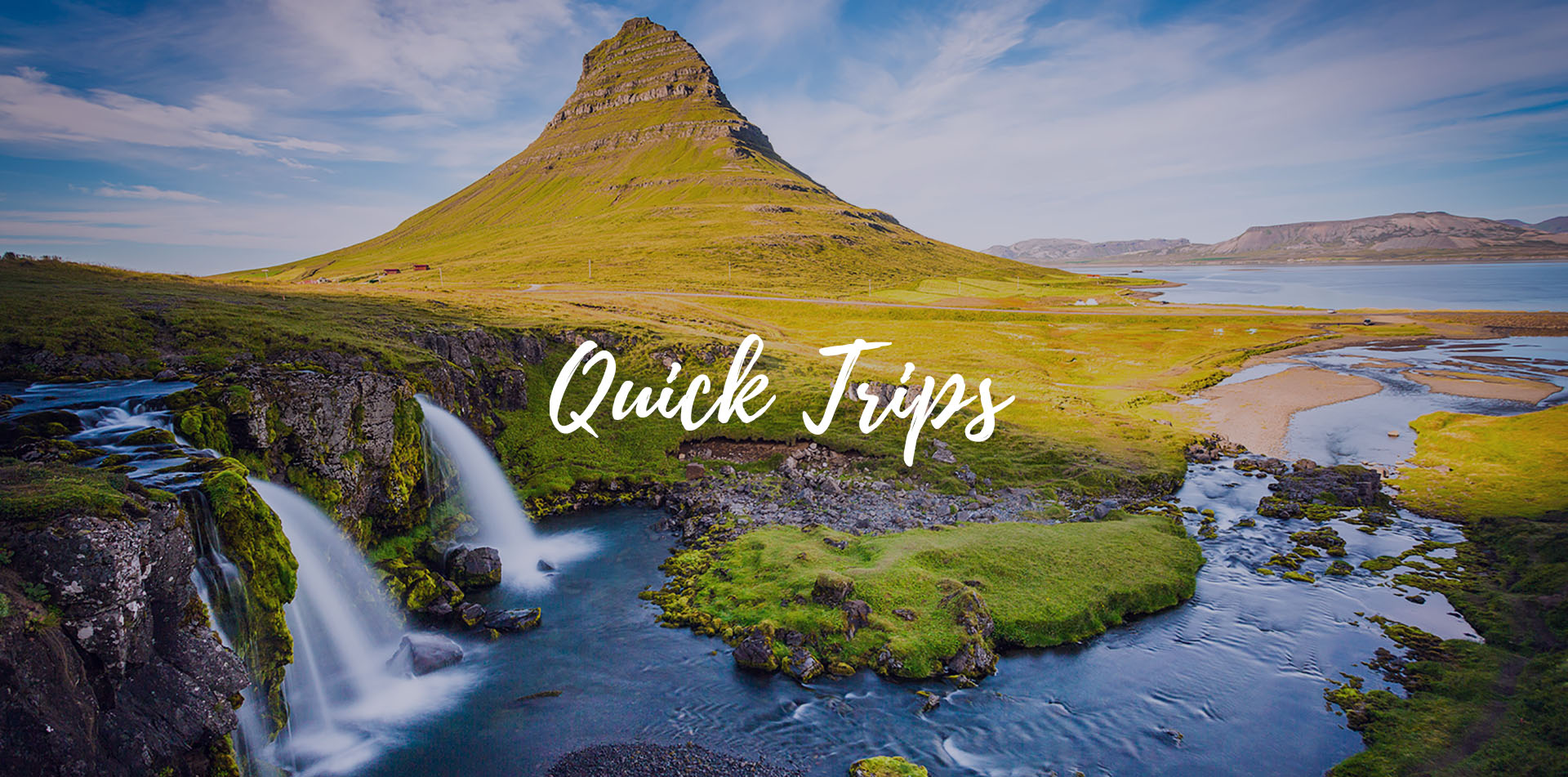 Europe Iceland Snaefellsnesnes waterfall with Kirkjufell Mountain at sunrise quick trips - luxury vacation destinations