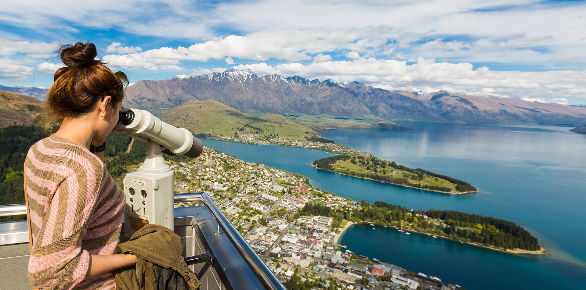 Woman Overlooking Queenstown, New Zealand