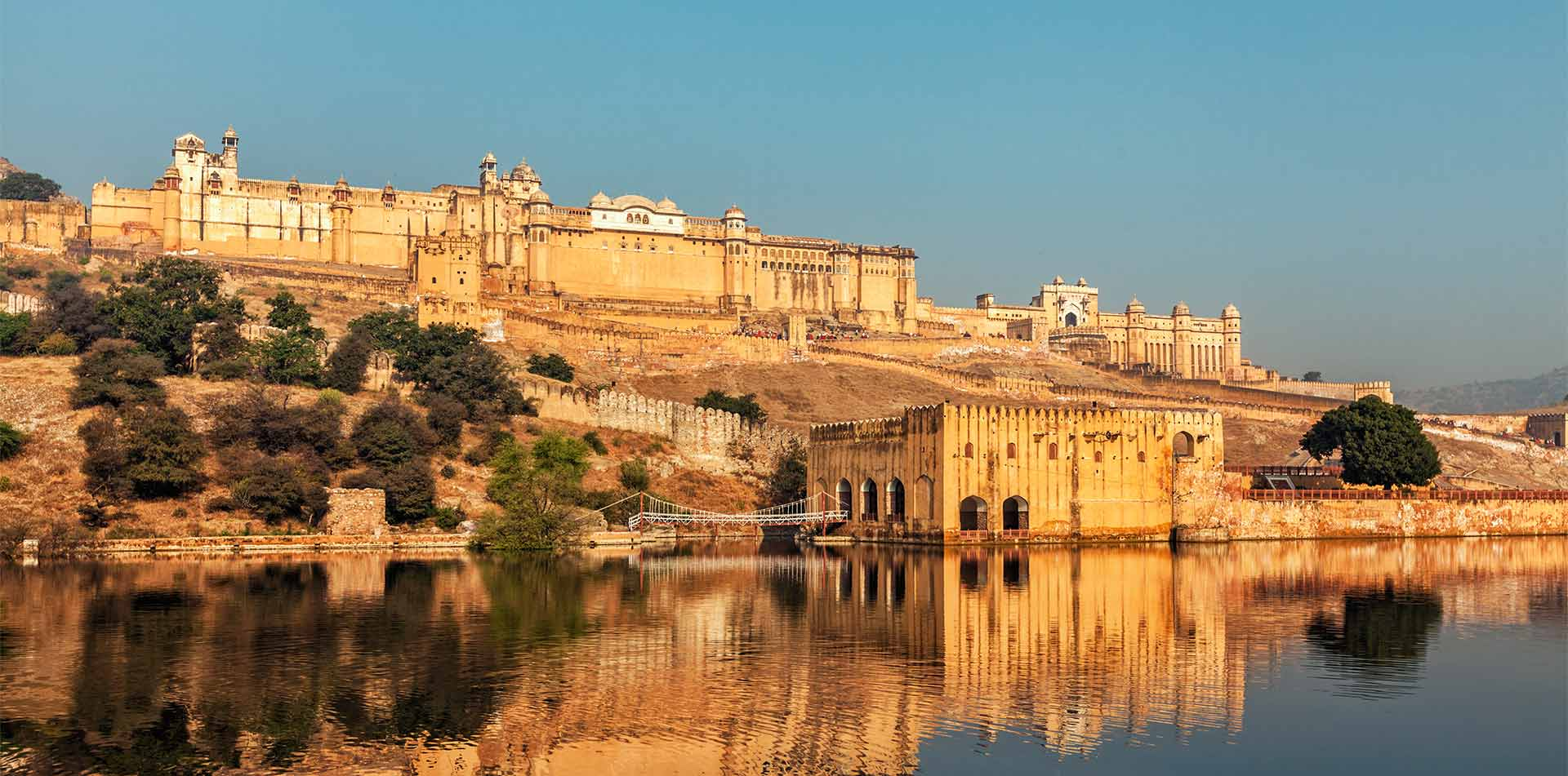 Asia India Rajasthan Jaipur Amber Fort and peaceful water - luxury vacation destinations
