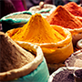 Asia India colorful spices for sale in local market bazaar - luxury vacation destinations