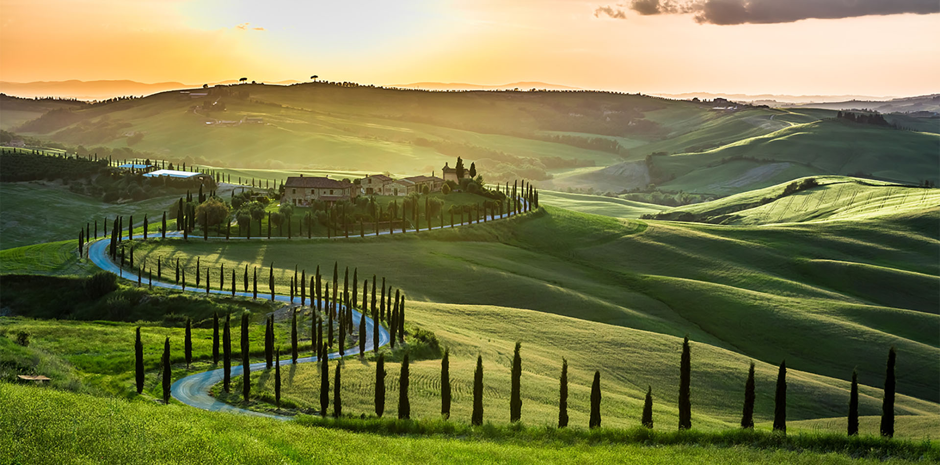 Countryside of Tuscany at Sunset, Italy