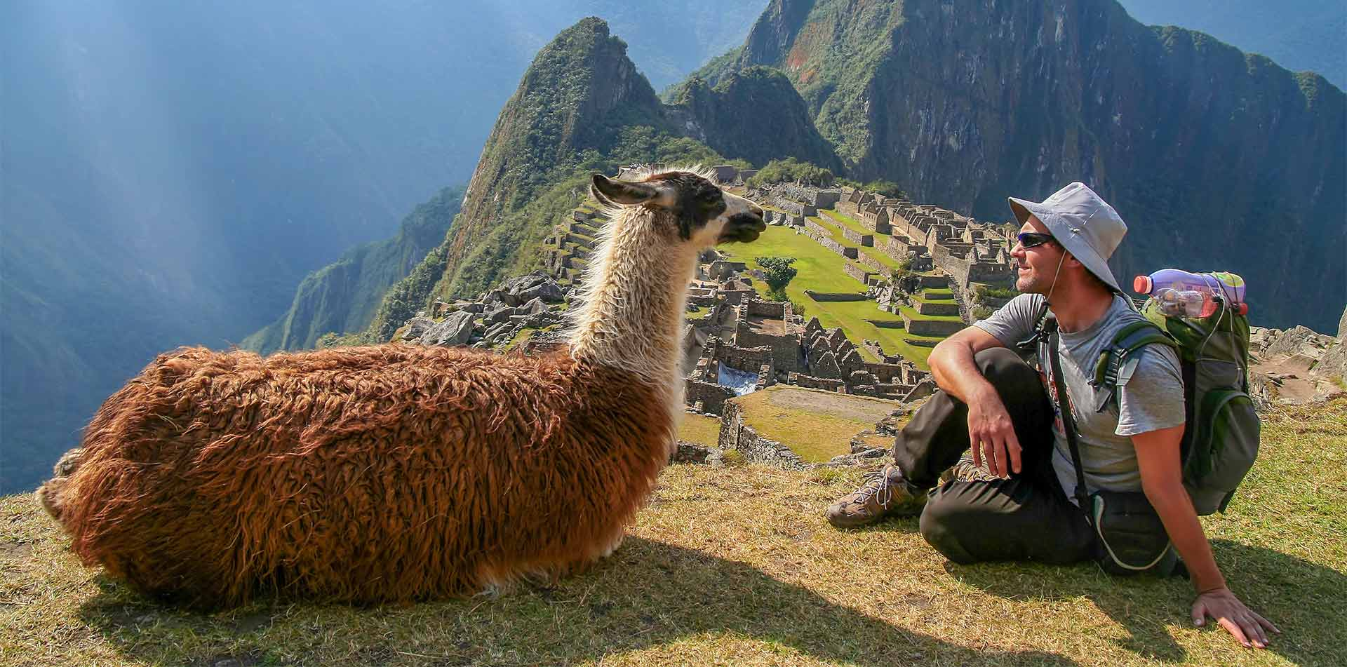 Tourist and llama sitting in front of Machu Picchu