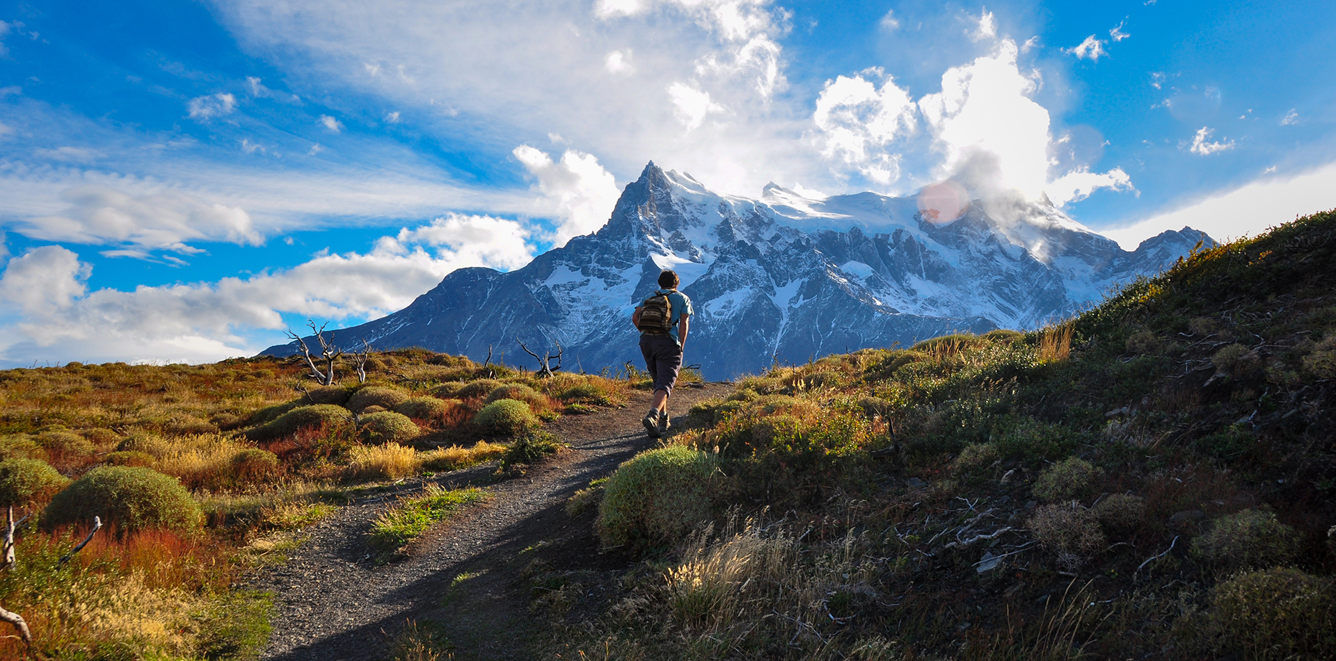 Traveler trekking in Torres del Paine, Chile