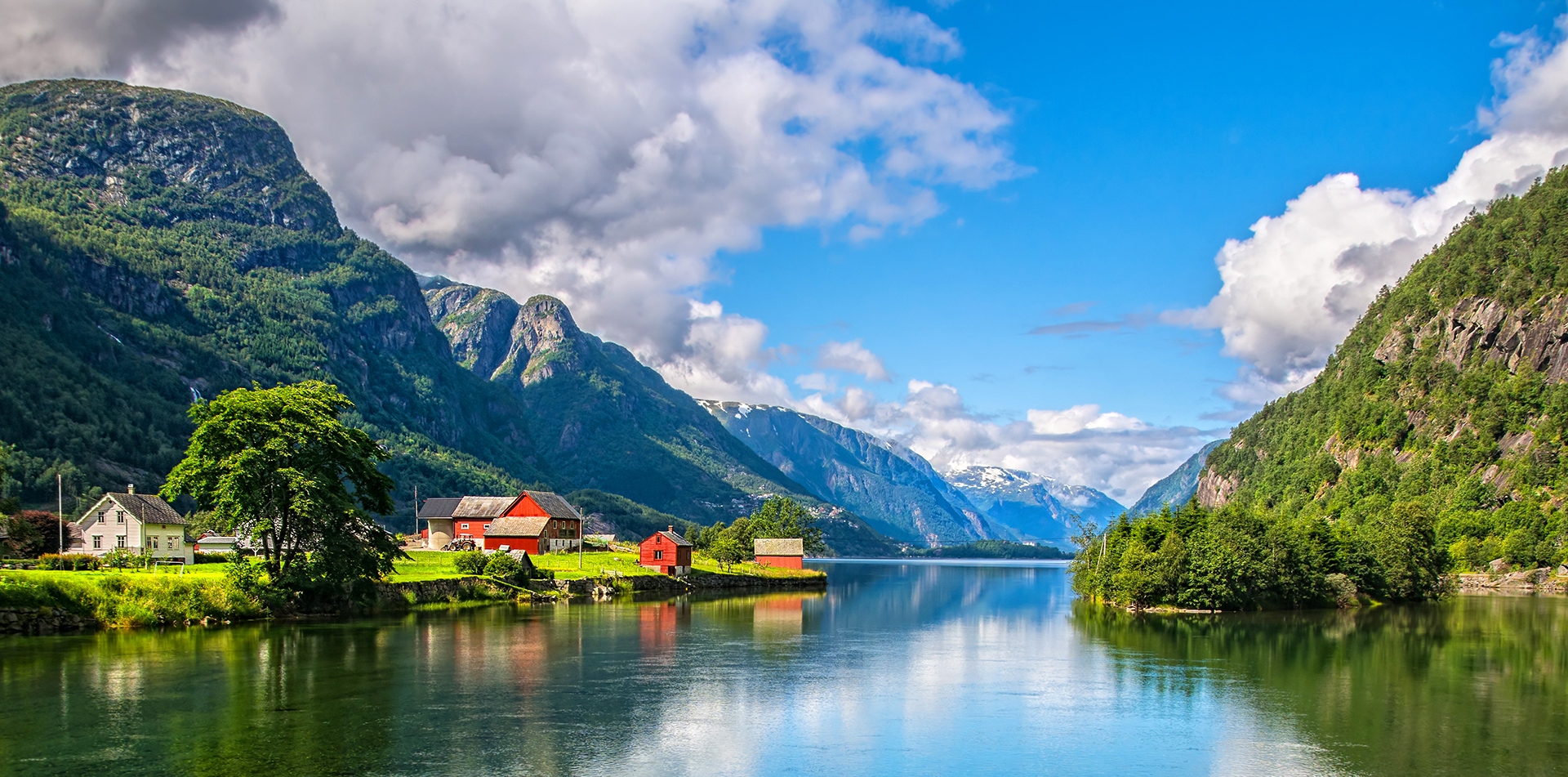 Europe Norway fjord lands with local farming village along the water - luxury vacation destinations