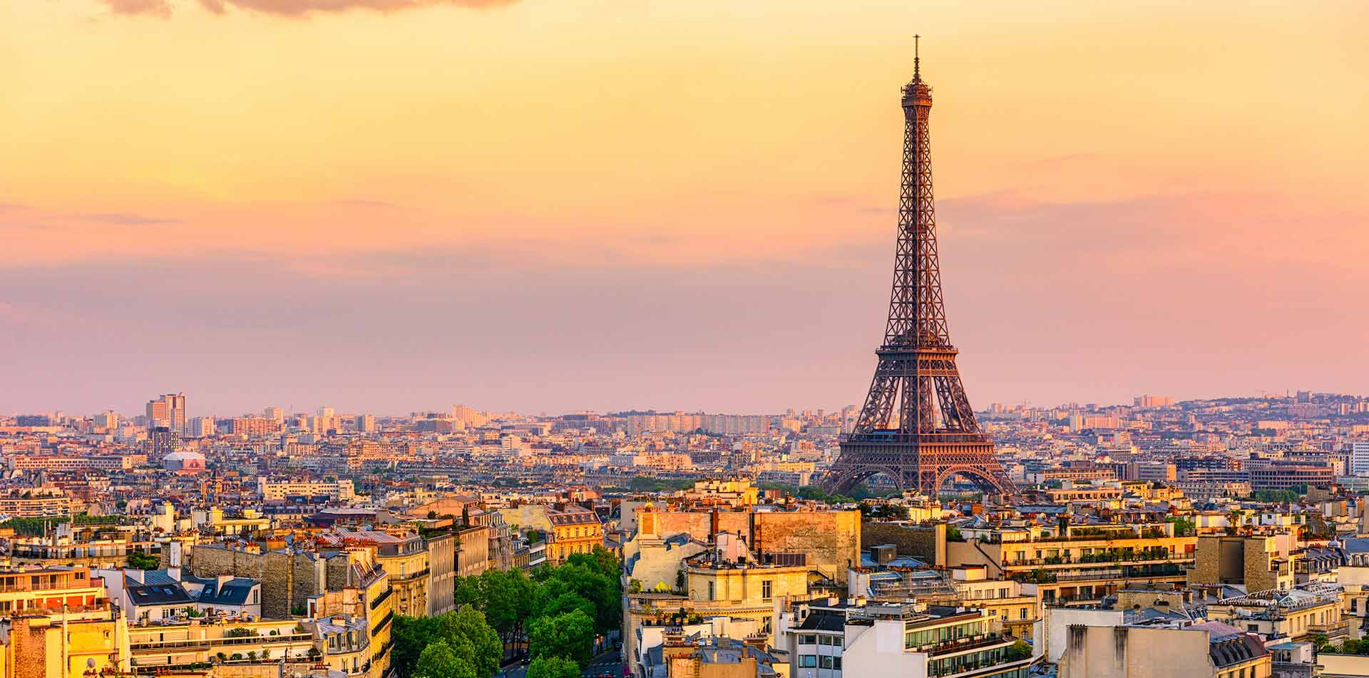 Europe France Paris beautiful colorful sunset scenic city skyline with historic Eiffel Tower - luxury vacation destinations