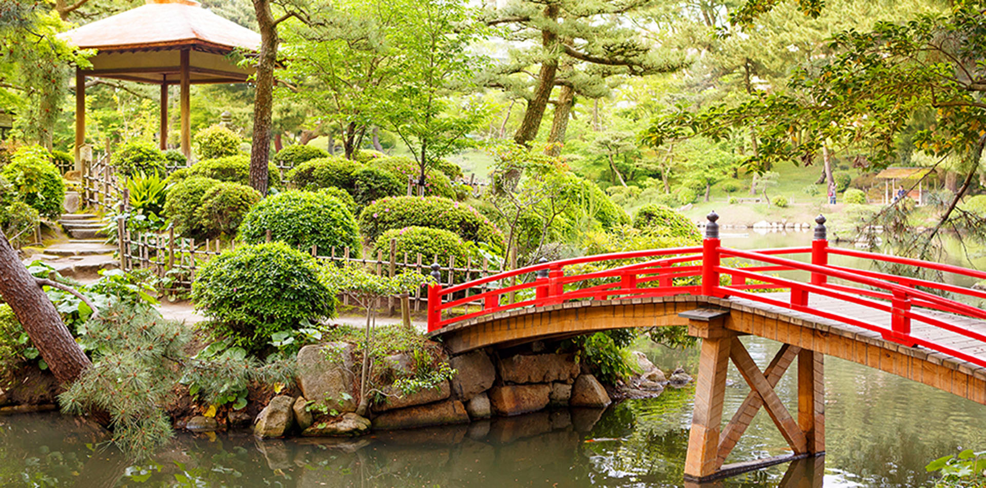 Shukkeien Garden Red Bridge, Japan