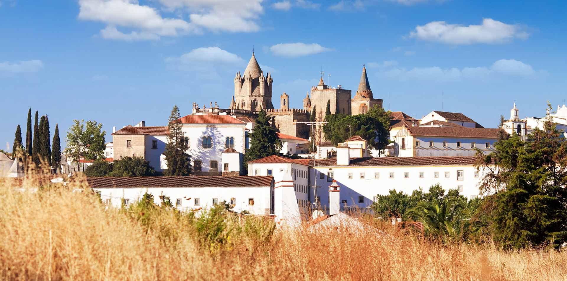 Europe Portugal view of medieval Cathedral of Evora from outskirts of city - luxury vacation destinations