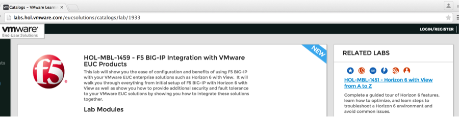 HOT OFF THE PRESSES – VMware and F5 Hands-On-Lab Now