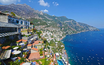 Europe Italy Salerno Positano Hotel le Agavi cliffside terrace ocean view aerial - luxury vacation destinations