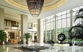 Asia China Regent Hotel Beijing bright airy and classy lobby with garden view - luxury vacation destinations
