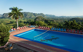 North America Caribbean Cuba Pinar del Rio Vinales Valley Los Jazmines hotel pool view - luxury vacation destinations