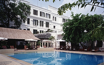 Asia Vietnam Hanoi Sofitel Legend Metropole Hotel outdoor pool at daytime - luxury vacation destinations