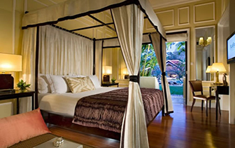 Asia Cambodia Siem Reap Raffles Grand Hotel d'Angkor guest room with patio and garden - luxury vacation destinations