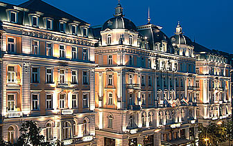 Europe Hungary Corinthia Hotel Budapest exterior at night - luxury vacation destinations