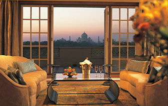 Asia India Agra The Oberoi Amarvilas hotel with sunset view of the Taj Mahal - luxury vacation destinations