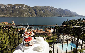Europe Italy Lake Como Bellagio Hotel Belvedere scenic balcony view of beautiful mountains - luxury vacation destinations
