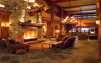 North America United States Whitefish Montana The Lodge at Whitefish Lake lobby relaxing fire - luxury vacation destinations