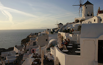 Europe Greece Santorini Oia Fanari Villas hotel romantic terrace with ocean view - luxury vacation destinations