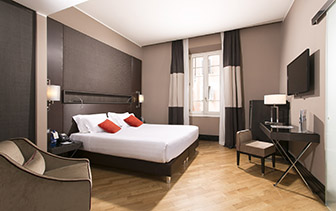 Europe Italy Rome Times Hotel modern sleek comfortable accommodations executive room - luxury vacation destination