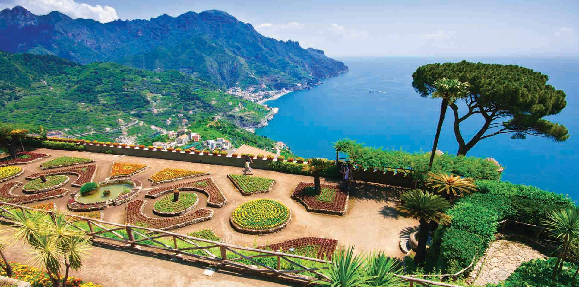 Europe Italy Amalfi Coast Salerno Ravello Villa Rufolo beautiful gardens with sea view - luxury vacation destinations