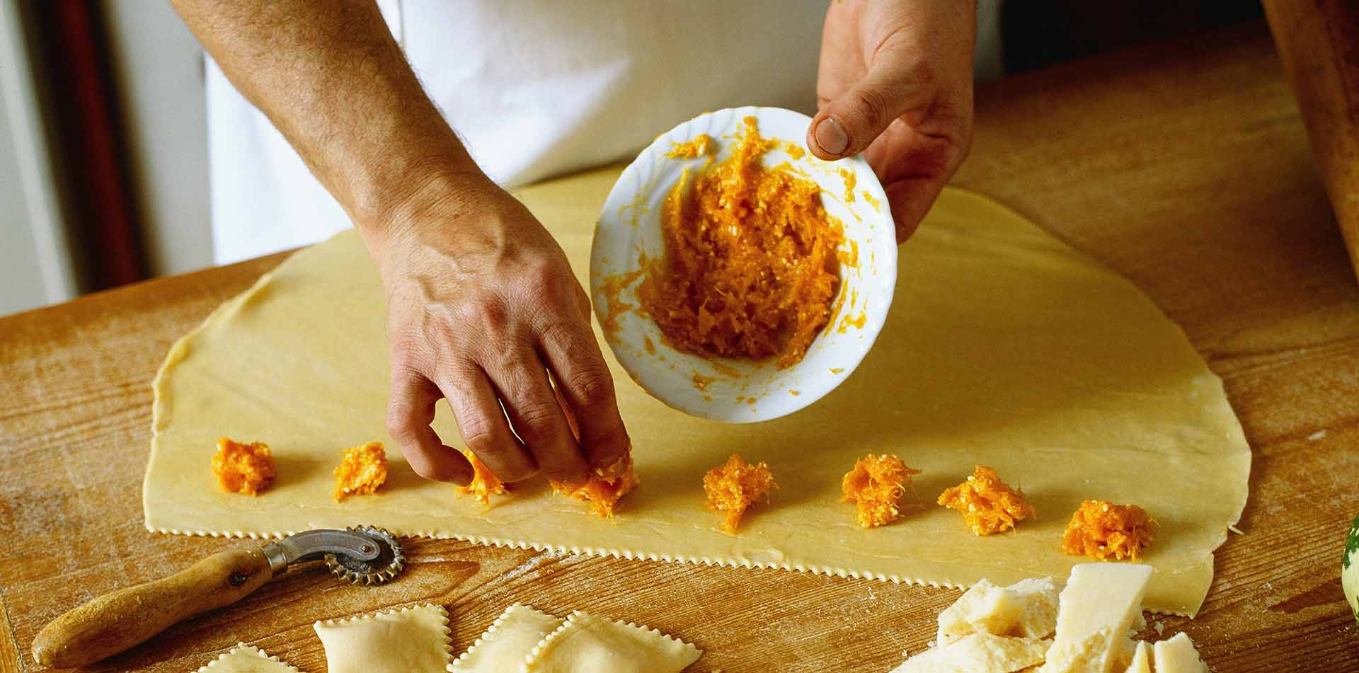 Europe Italy Amalfi Coast chef making handmade butternut squash agnolotti pasta food wine tour - luxury vacation destinations