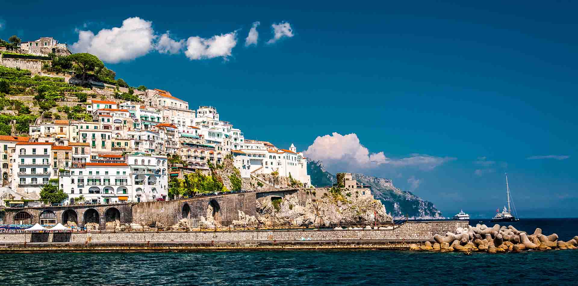 Europe Italy Naples Amalfi Coast beautiful coastline ocean view cliffside harbor - luxury vacation destinations