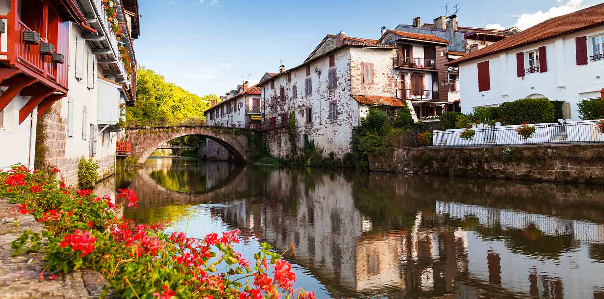 River in a Small Town in Basque, France