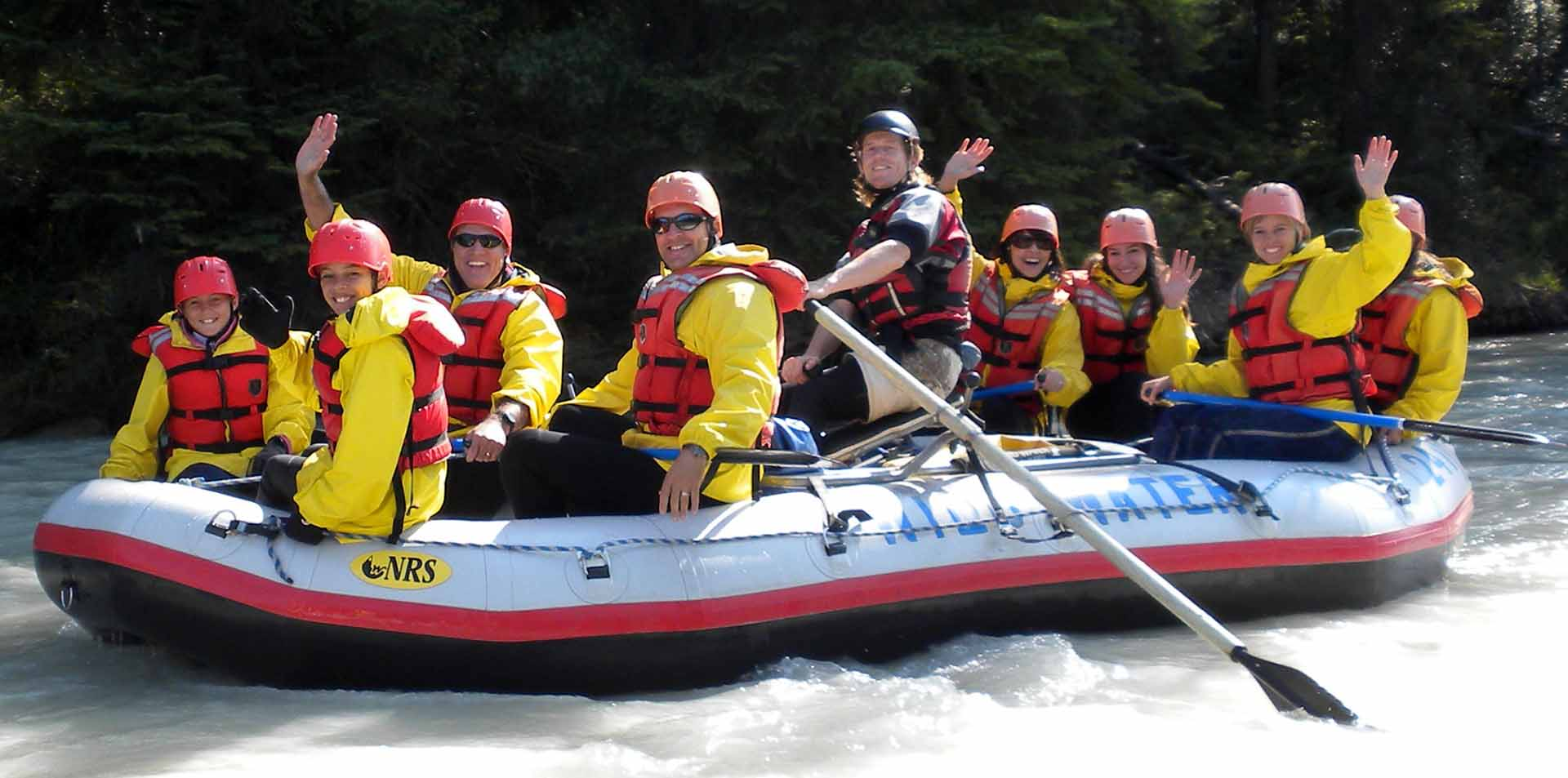 North America Canada Alberta Rockies Banff whitewater rafting family smile wave adventure - luxury vacation destinations