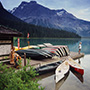 North America Canada British Columbia Yoho Rockies mountain Emerald Lake canoe dock boathouse - luxury vacation destinations