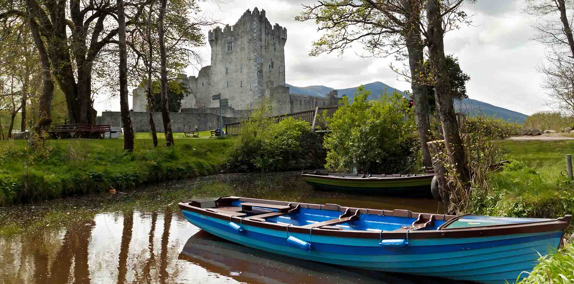 Boat in Foreground of Ross Castle, Ireland