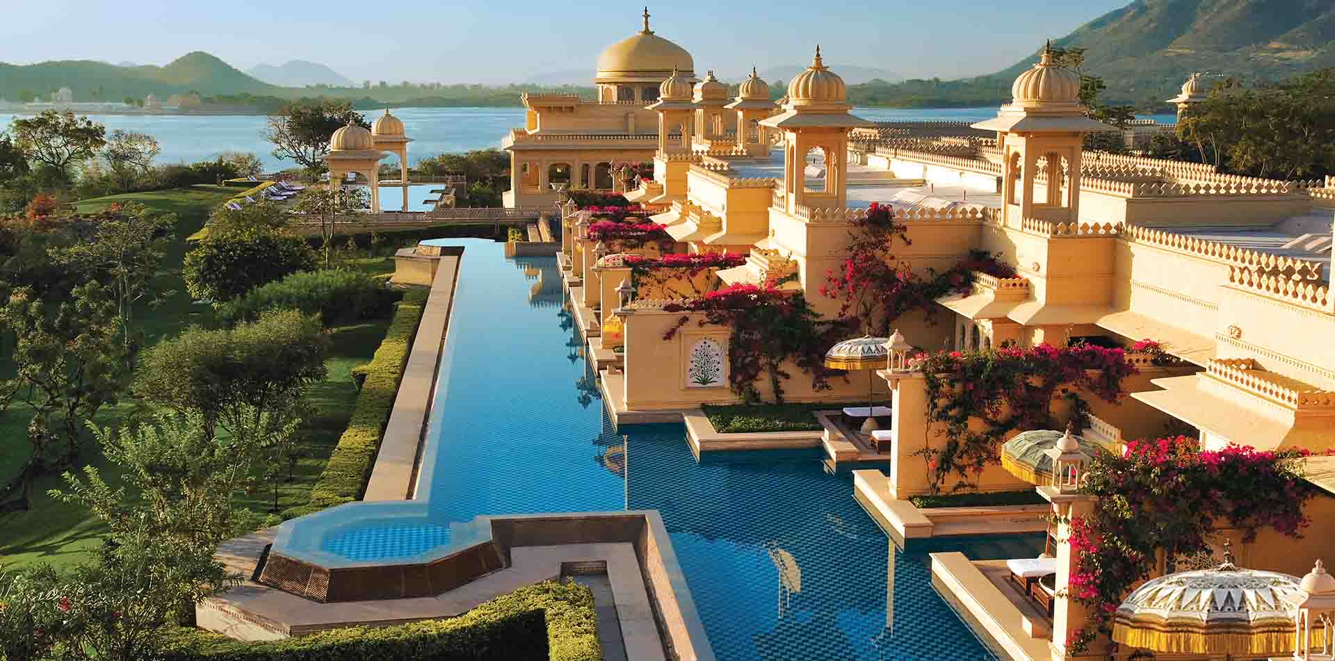Asia Northern India luxurious temple style hotel with wraparound pool - luxury vacation destinations