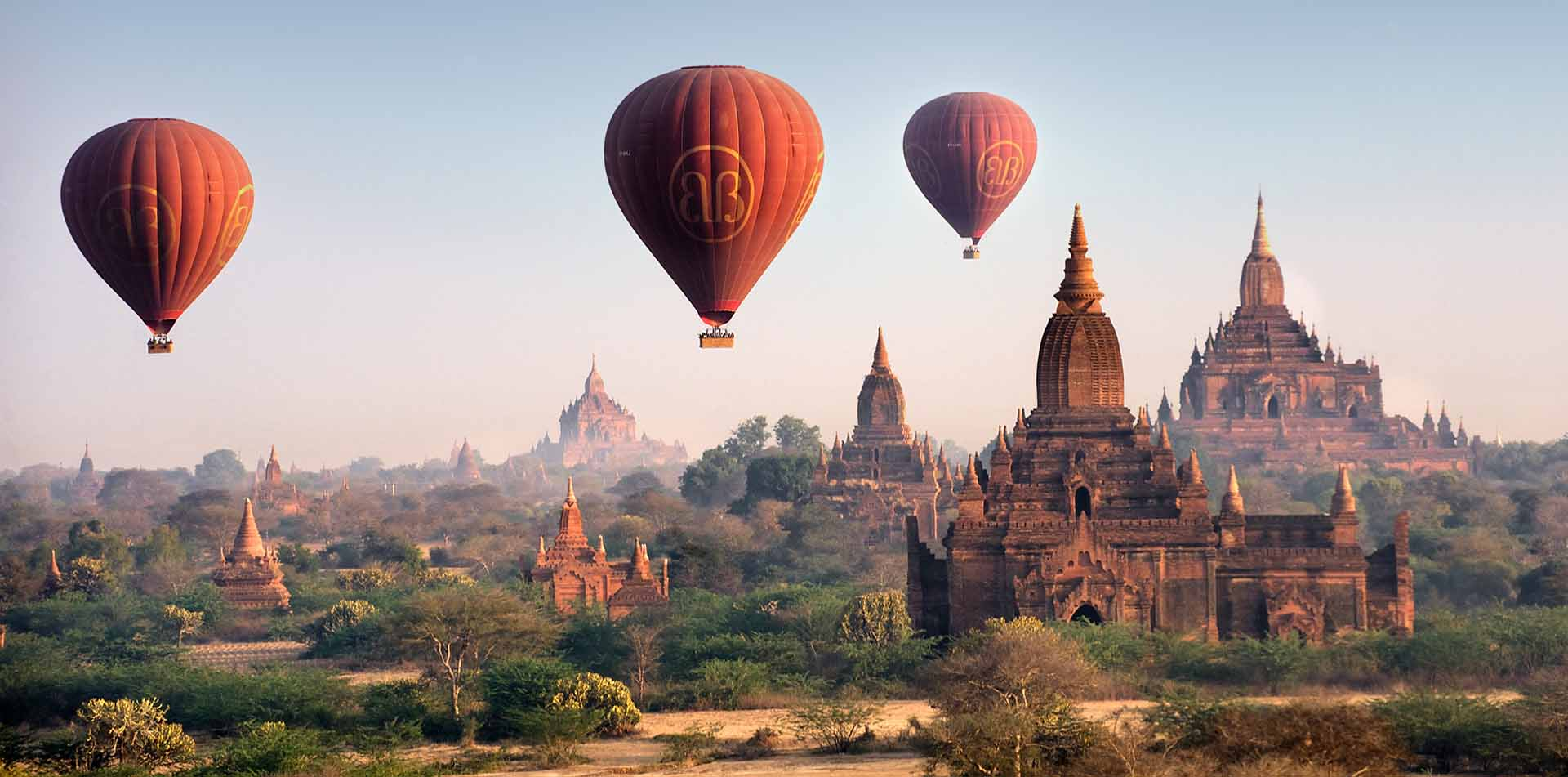 Asia Myanmar Bagan scenic hot air balloon rides ancient temples remote jungle landscape - luxury vacation destinations