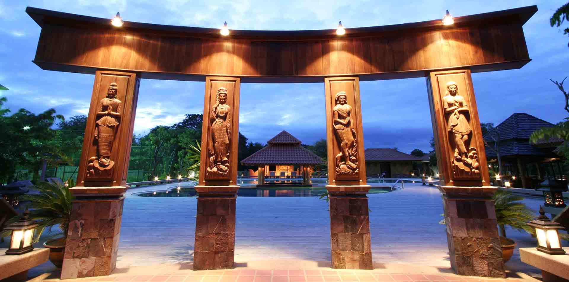 Asia Myanmar Mandalay tropical Rupar Mandalar Resort ornate teak carving Burmese architecture - luxury vacation destinations