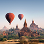 Hot Air Balloons at Temple in Bagan, Myanmar