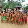 Central America Panama group of children from indigenous Embera people in local village - luxury vacation destinations
