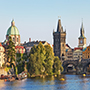 Europe Czech Republic Prague Letna Park with bridges over the Vltava River and Old Town - luxury vacation destinations