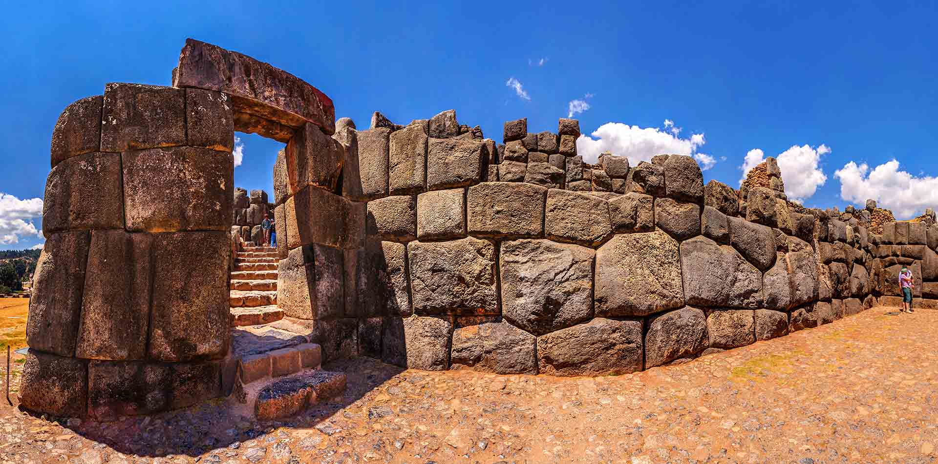 South America Peru Cusco Sacsayhuaman ancient Inca ruins of stone fortress terrace gateway - luxury vacation destinations