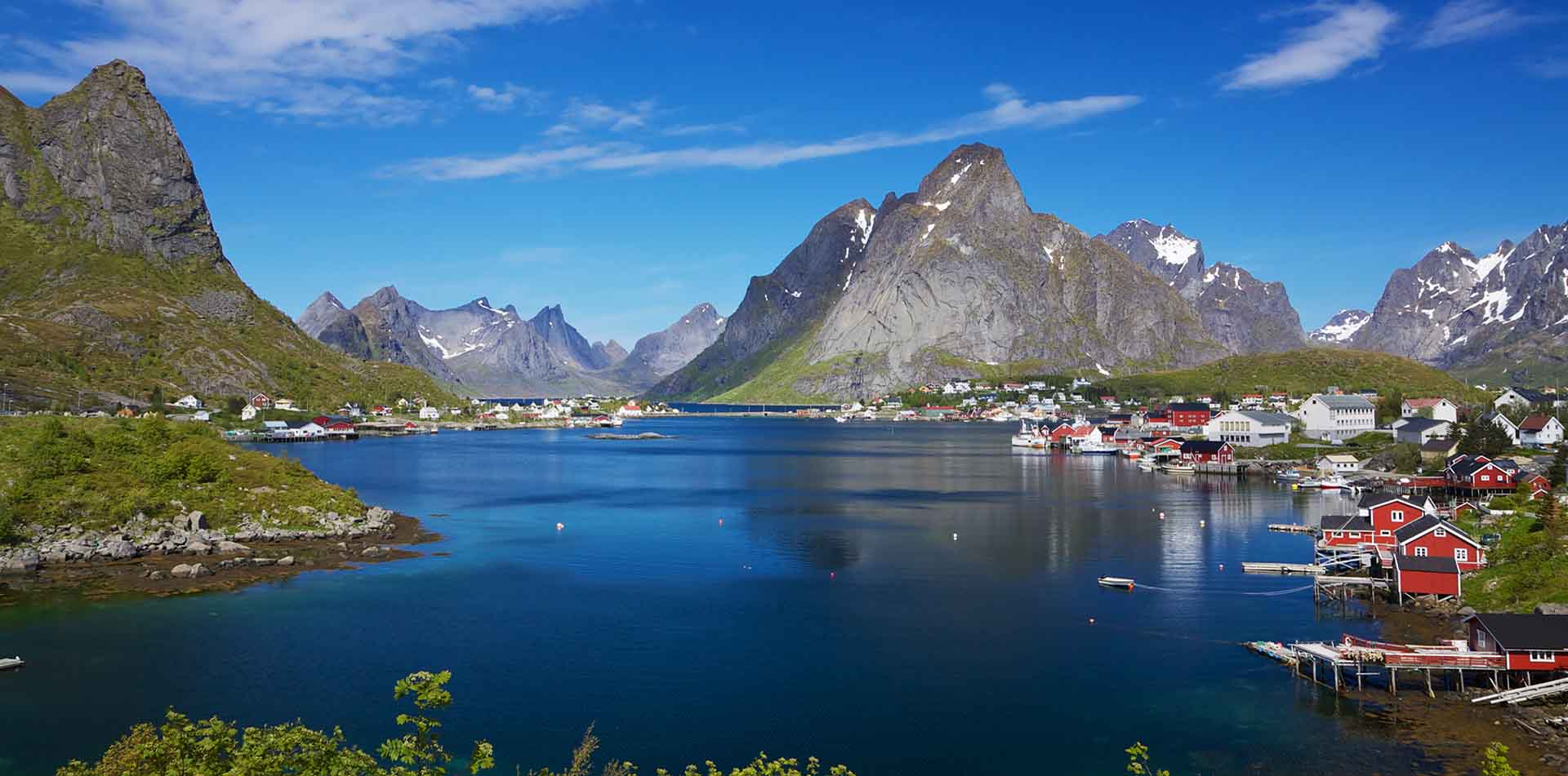 Scenic Fishing Town Near Fjords in Norway