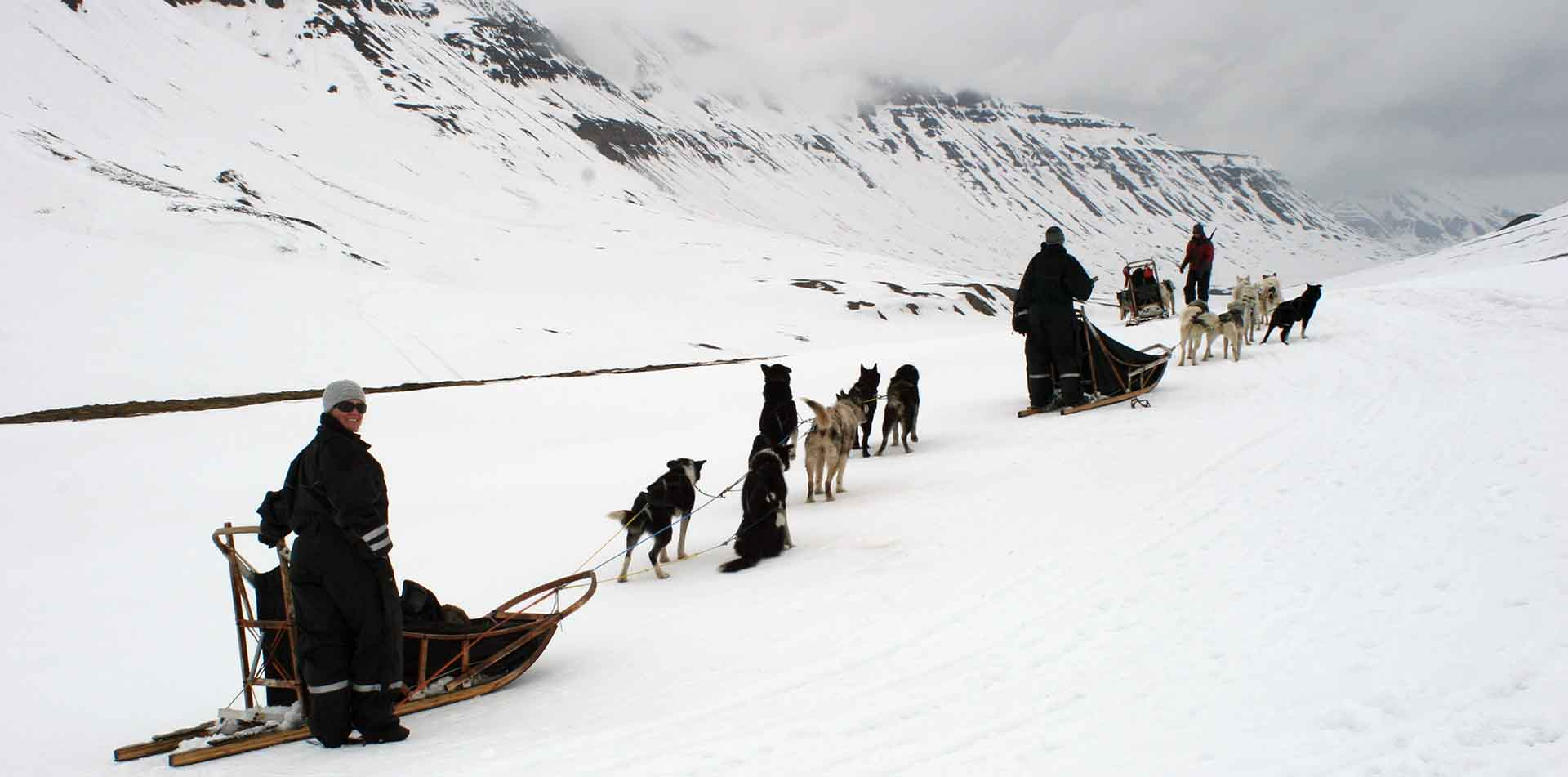 Group of People Dogsledding, Norway