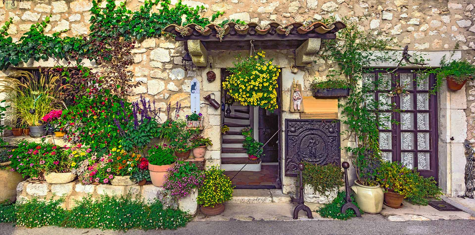Europe France Provence beautiful old home with colorful flower garden - luxury vacation destinations