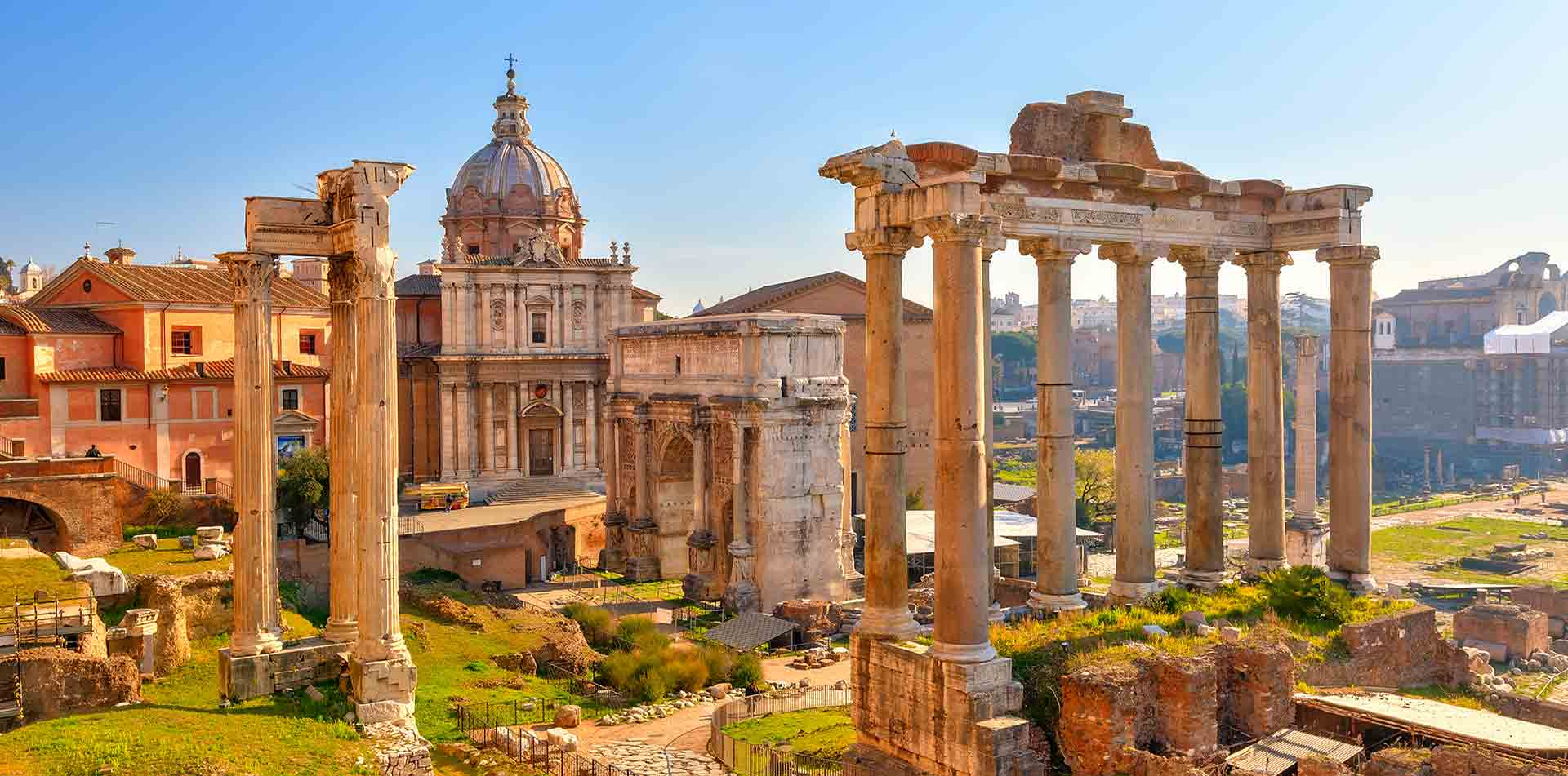 Europe Italy Rome Forum Romanum ancient ruins of Roman Forum at daytime - luxury vacation destinations