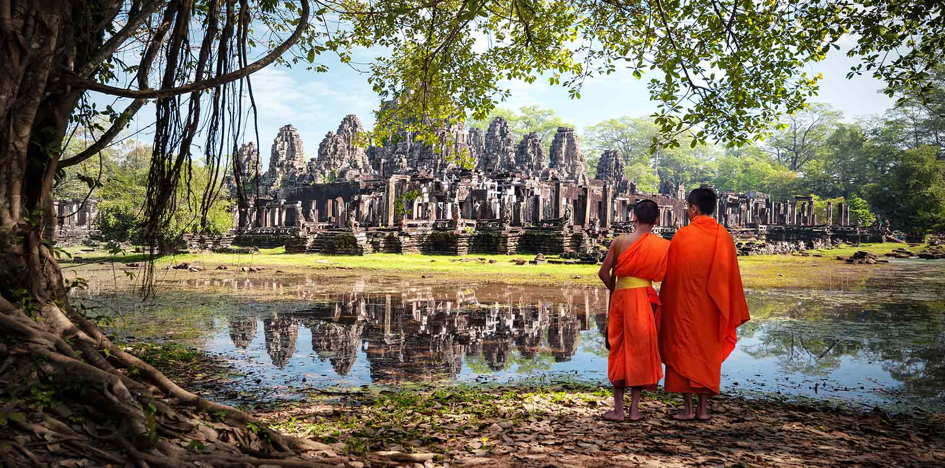 Bhuddist Monks at Angkor Wat, Cambodia